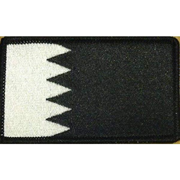Fast Service Designs Airsoft Morale Patch 1 Bahrain Flag Embroidered Patch with Hook & Loop Travel Patriotic MC Biker Morale Emblem #16 (Black & White. Black Border)
