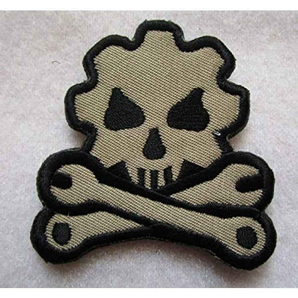 Embroidered Patch Airsoft Morale Patch 1 Mechanic Wrench Gear Wheel Skull 3D Tactical Patch Military Embroidered Morale Tags Badge Embroidered Patch DIY Applique Shoulder Patch Embroidery Gift Patch