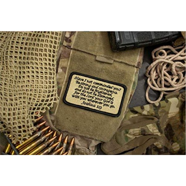 BASTION Airsoft Morale Patch 4 BASTION Morale Patches (Joshua 1:9, Black) | 3D Embroidered Patches with Hook & Loop Fastener Backing | Well-Made Clean Stitching, Christian Patches Ideal for Tactical Bag, Hats & Vest