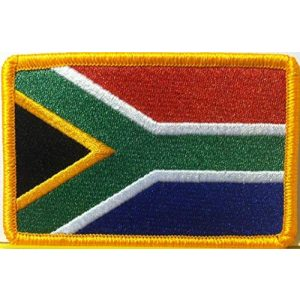 Fast Service Designs Airsoft Morale Patch 1 South Africa Flag Embroidered Patch with Hook & Loop Travel Morale Patriotic MC Biker Shoulder Gold Border African Emblem #054