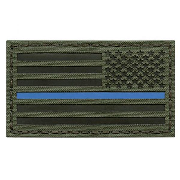Tactical Freaky Airsoft Morale Patch 1 OD Green IR USA American Reversed Flag 2x3.5 Thin Blue Line IFF Tactical Morale Fastener Patch