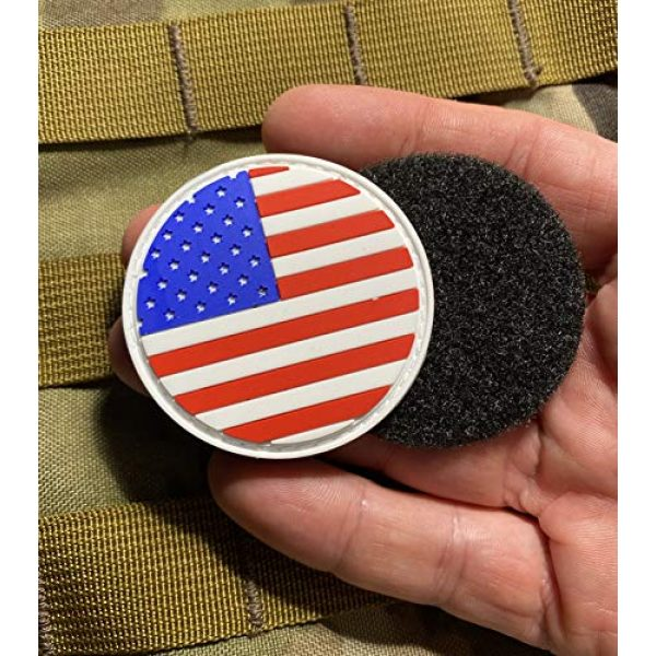 """Empire Tactical USA Airsoft Morale Patch 3 American Flag 2"""" Round PVC Patch (Hook/Loop) Back Morale Patch"""