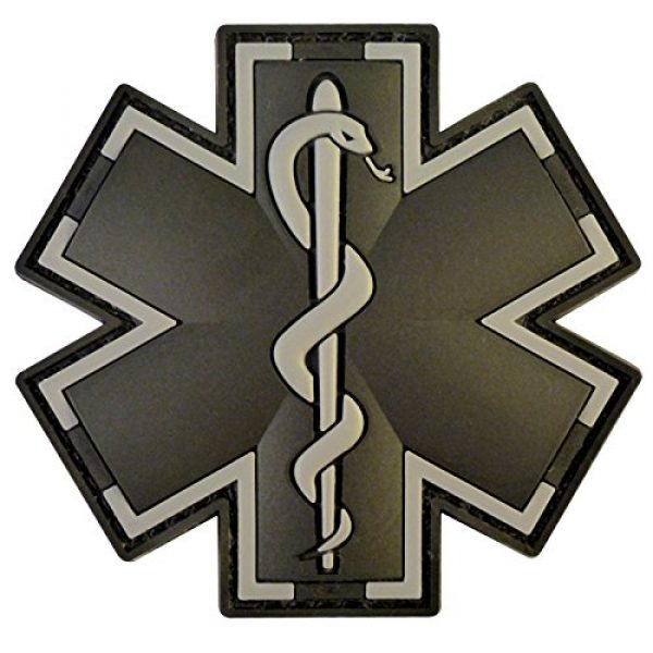 LEGEEON Airsoft Morale Patch 1 LEGEEON ACU Black EMS EMT Medic Paramedic Star of Life Morale Tactical PVC 3D Hook-and-Loop Patch