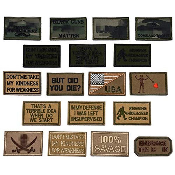 Butie Airsoft Morale Patch 1 Butie 18 Pack Tactical Morale Patches with Hook & Loop, Funny Military Backpack Hat Vest Patch Embroidery Army Badge Set for (RF-65)
