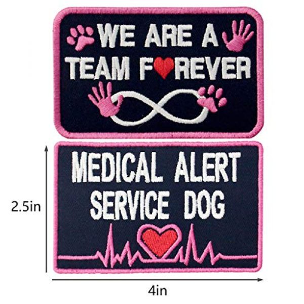 TailWag Planet Airsoft Morale Patch 2 Service Dog Medical Not All Disabilities are Visible Alert Vest/Harnesses Tactical Morale Patch Embroidered Badge Fastener Hook & Loop Emblem, 6 Pcs, Pink