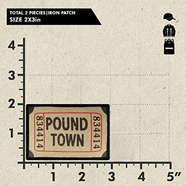 Ebateck Airsoft Morale Patch 2 Ebateck Pound Town Ticket Morale Patches, 2 Pack, Embroidered Tactical Funny Applique Iron On Sew On Emblem