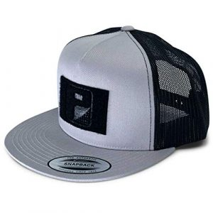P PULLPATCH Tactical Hat 1 Pull Patch Tactical Hat | Authentic Snapback 2-Tone Flat Bill Trucker Cap | 2x3 in Hook and Loop Surface to Attach Morale Patches | 5 Panel | Silver and Black | Free US Flag Patch Included