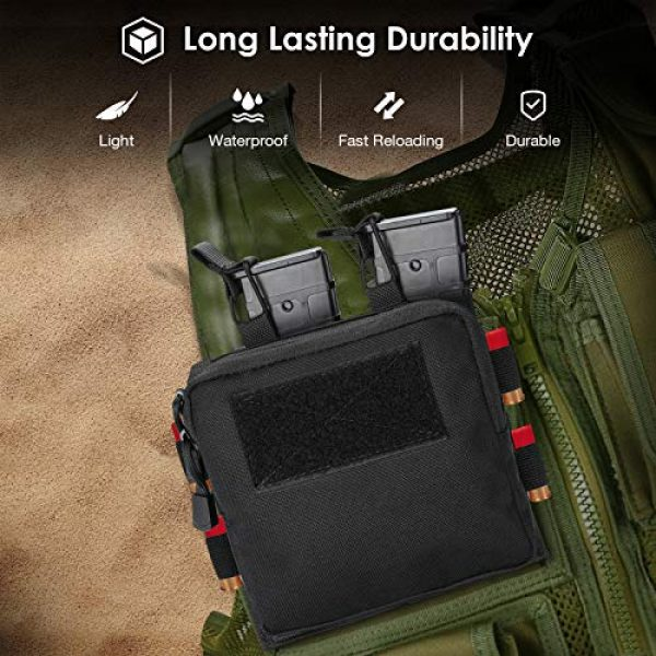 ProCase Tactical Pouch 6 ProCase Tactical Admin Molle Pouch with 2 Rifle Magazine Pouch for M4 G36 HK416 AR AK 5.56/7.62 mm Magazines -Black
