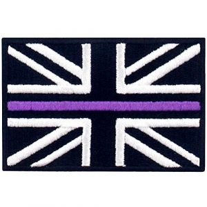 EmbTao Airsoft Morale Patch 1 EmbTao Tactical Thin Purple Line UK Flag British Union Jack Patch Embroidered Morale Applique Iron On Sew On Emblem