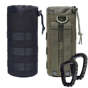 Novemkada Tactical Pouch 1 Novemkada Water Bottles Pouches - 1000D Tactical Molle Drawstring 32OZ Hydration Carrier Bag