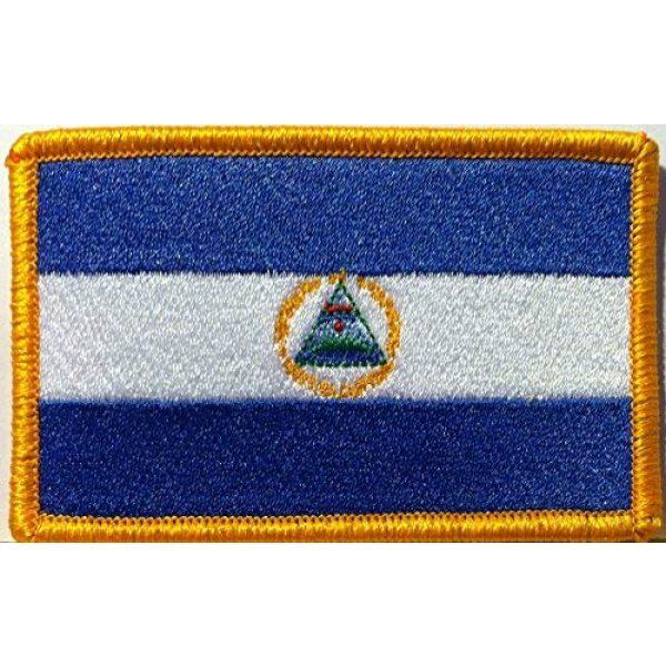 Fast Service Designs Airsoft Morale Patch 1 Nicaragua Flag Embroidered Patch with Hook & Loop Travel Morale Patriotic Nicaraguan MC Biker Shoulder Gold Emblem #9