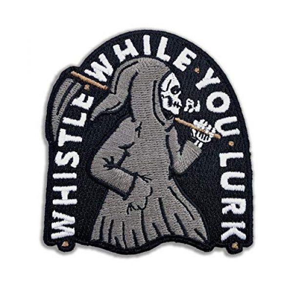 Wasted Days Airsoft Morale Patch 1 Wasted Days Whistle While You Lurk Embroidered Patch for Jackets, Iron On or Sew On Novelty Grim Reaper Skeleton