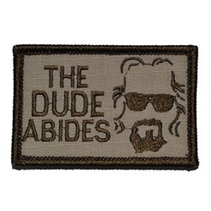 Tactical Gear Junkie Airsoft Morale Patch 1 The Dude Abides, The Big Lebowski 2x3 Patch - Desert Tan