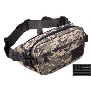 Protector Plus Tactical Pouch 1 Protector Plus Tactical Fanny Pack Military Running Waist Bag Hip Belt MOLLE Army Lumbar Gear Pouch Sling Chest Shoulder Crossbody Messenger Bag (Patch Included)