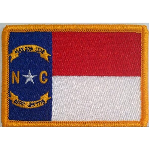 Fast Service Designs Airsoft Morale Patch 1 North Carolina State Flag Embroidered with Hook & Loop Patch MC Biker Morale Tactical Shoulder Gold Emblem #311