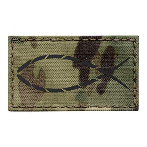 Tactical Freaky Airsoft Morale Patch 1 IR Multicam Ichthys Jesus Fish Crusader Christian US Army Tactical Morale Fastener Patch
