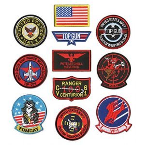 WZT Airsoft Morale Patch 1 WZT 11 Pieces TOP Gun Tactical Morale Military Patch United States Navy Fighter Weapons School, American Flag, CV-61 USS Ranger 100 Centurion, Tom Cat, Pete Mitchell Maverick, VX-31, VF-1 Embroidered