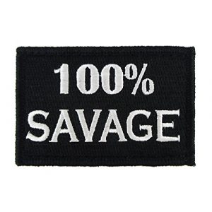 Morale Tags Airsoft Morale Patch 1 100% Savage Hook and Loop Fully Embroidered Morale Tags Patch (Black and White)