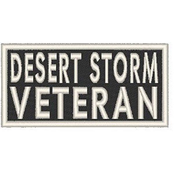 Fast Service Designs Airsoft Morale Patch 1 Desert Storm Veteran Patch with Hook & Loop Travel Morale Patriotic Emblem White Border