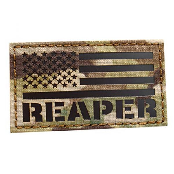 Tactical Freaky Airsoft Morale Patch 1 IR Multicam America Reaper Flag 2x3.5 Morale USA Tactical Hook-and-Loop Patch