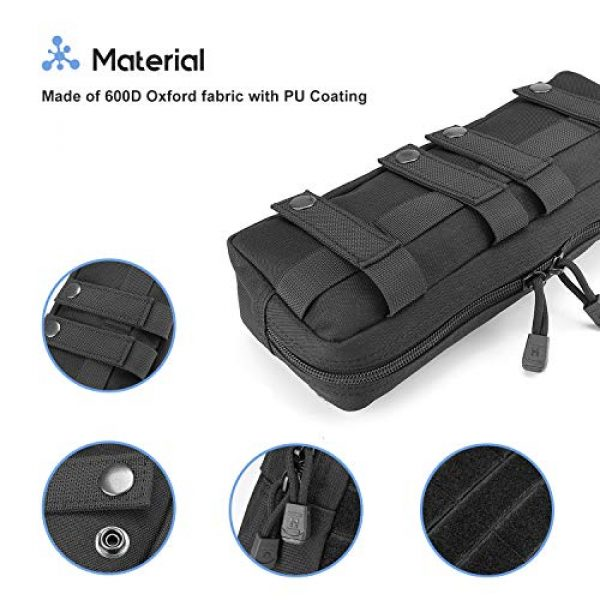 ProCase Tactical Pouch 4 ProCase Tactical Admin Pouch, Versatile Molle Admin Pouch EDC Carry Bag Multi-Purpose Tool Holder for Magazine, Map and Other Small Tools -Black