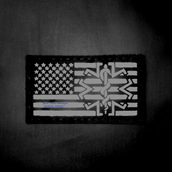 Tactical Freaky Airsoft Morale Patch 2 Multicam Infrared IR USA American Flag EMS Star of Life Medic Paramedic 3.5x2 Tactical Morale Hook-and-Loop Patch