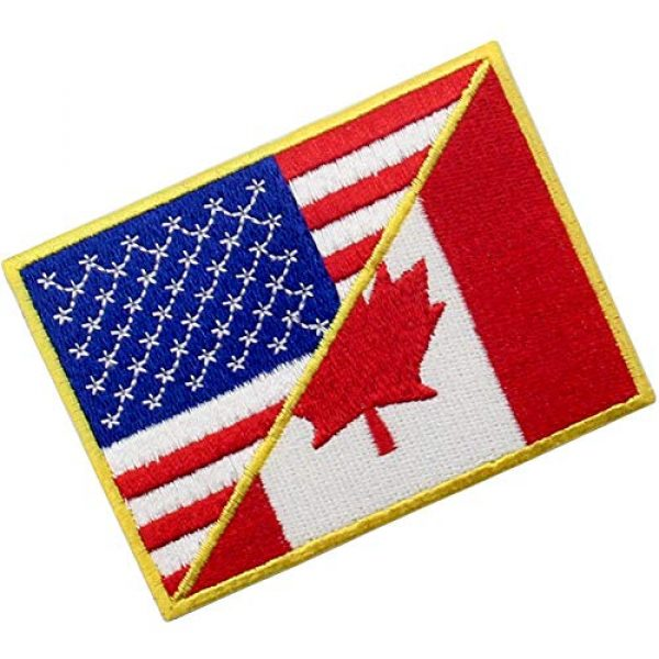 EmbTao Airsoft Morale Patch 3 USA American United State Canada Flag Patch Embroidered Applique Iron On Sew On Emblem, Red & Black