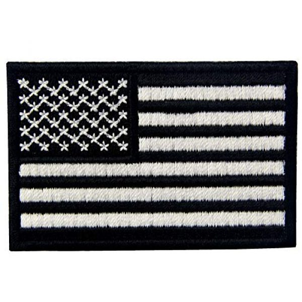 EmbTao Airsoft Morale Patch 3 EmbTao Glow in Dark Tactical Embroidered USA Flag Iron On Sew On Patch - Black & White