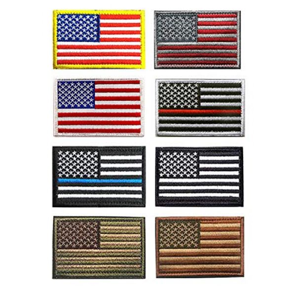 Antrix Airsoft Morale Patch 1 US Flag Patch, Antrix 8 Pack Great Value USA American Flags Thin Blue Line Thin Red Line US Army Flag Fully Embroidered Military Badge Emblem Patches Set