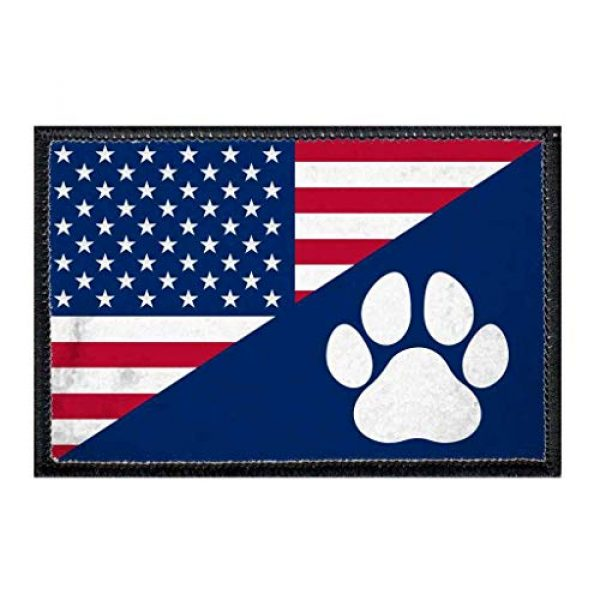 P PULLPATCH Airsoft Morale Patch 1 US Paw Flag Morale Patch | Hook and Loop Attach for Hats, Jeans, Vest, Coat | 2x3 in | by Pull Patch
