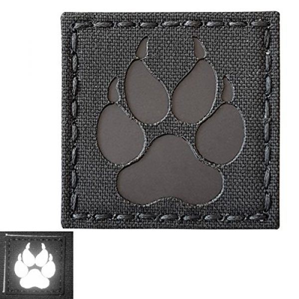 Tactical Freaky Airsoft Morale Patch 3 Blackout Infrared IR K9 Dog Handler Paw K-9 2x2 Tactical Morale Hook-and-Loop Patch