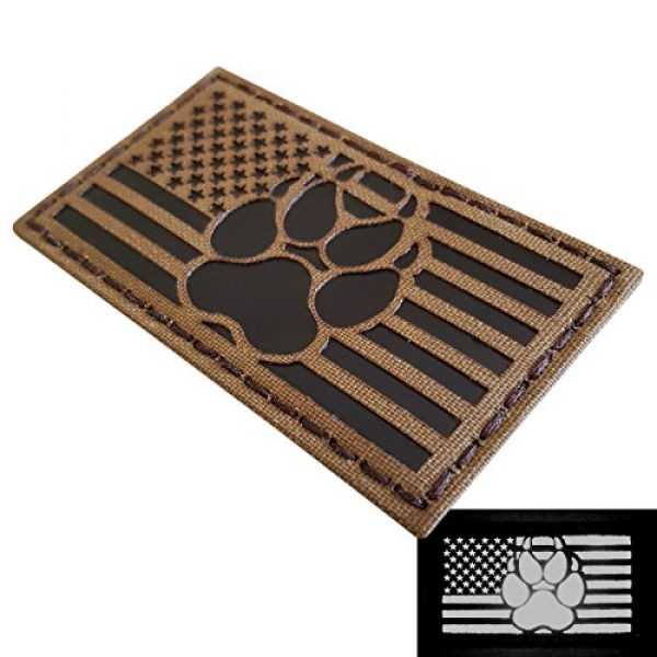 Tactical Freaky Airsoft Morale Patch 3 IR Coyote Brown Tan Infrared USA Flag K9 Dog Handler Paw K-9 Tactical Morale Hook&Loop Patch