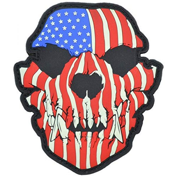 Tactical Gear Junkie Airsoft Morale Patch 1 Glow in The Dark Canine Skull USA Flag - 3x3.5 PVC Patch