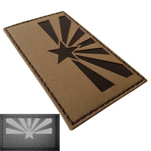 Tactical Freaky Airsoft Morale Patch 3 Big 3x5 Coyote Brown Tan Infrared IR Arizona Flag IFF Tactical Morale Hook-and-Loop Patch