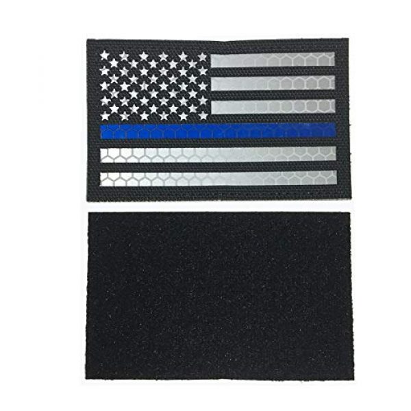 HNGKIANGHU Airsoft Morale Patch 2 2x3.15 Inch Reflective Thin Blue Line US USA American Flag Morale Tactical Police Patches Hook-Fastener Backing 3D Patch (A-1 pcs)