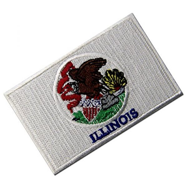 EmbTao Airsoft Morale Patch 4 Illinois State Flag Embroidered Emblem Iron On Sew On IL Patch