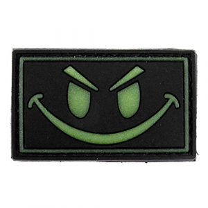 LIVABIT Airsoft Morale Patch 1 LIVABIT PVC Rubber 3D Morale Patch MP-15 Tactical Airsoft Paintball Black Glow In The Dark Smiley Face