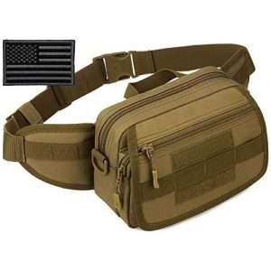 Protector Plus Tactical Pouch 1 Protector Plus Tactical Fanny Pack Military Running Waist Bag Sling Hip Belt MOLLE Army Lumbar Gear Pouch (Patch Included)