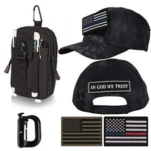"""IronSeals Tactical Pouch 1 IronSeals AQ Bundle Adjustable Tactical Portable Sun Hat Cap with 4 Patches & Pouch Compact EDC Utility Gadget Waist Bag Pack with Cell Phone Holster for 4""""-5.7"""" Phone & D-Ring"""