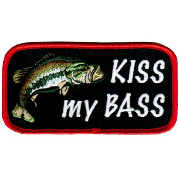Cypress Collectibles Embroidered Patches Airsoft Morale Patch 1 Kiss My Bass Embroidered Patch Largemouth Bass Fishing Iron-On Novelty Joke Gift