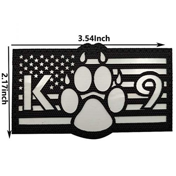 APBVIHL Airsoft Morale Patch 2 Glow in Dark USA Flag K9 Dog Handler Paw K-9 Tactical Morale Fastener Patch, Hook and Loop Backing for Harness Vest, Bundle 2 Pieces, 3.54 x 2.17 Inch