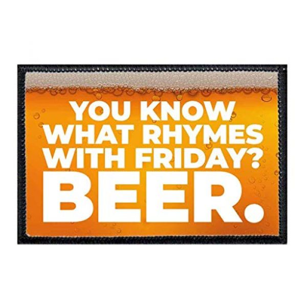 P PULLPATCH Airsoft Morale Patch 1 You Know What Rhymes with Friday Beer. Morale Patch | Hook and Loop Attach for Hats, Jeans, Vest, Coat | 2x3 in | by Pull Patch