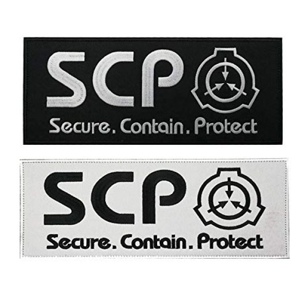 APBVIHL Airsoft Morale Patch 1 2 Pack Large Size SCP Foundation Secure Contain Protect Embroidered Patches, Tactical Military Morale Badges Decorative Appliques with Fastener Hook and Loop Backing