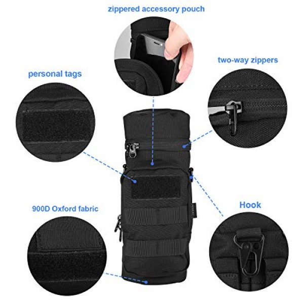 ProCase Tactical Pouch 6 ProCase Water Bottle Pouch, Tactical MOLLE Hydration Carrier Bag with Extra Accessory Pouch and Detachable Shoulder Strap -Black