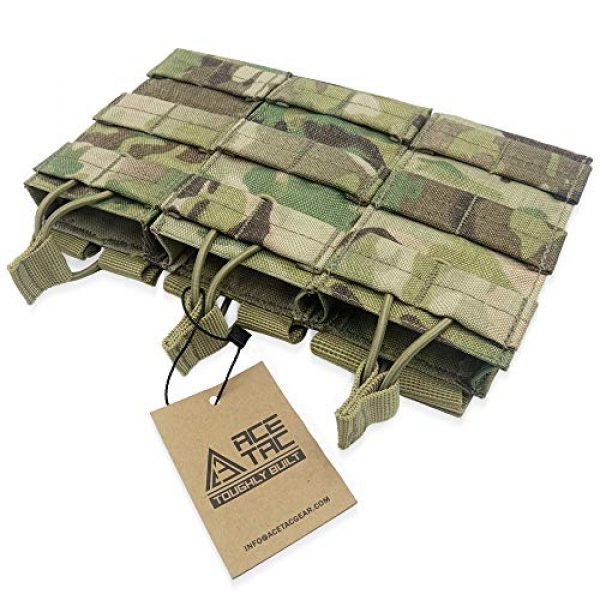 AceTac Gear Tactical Pouch 2 AceTac Tactical Triple Open Top Mag Pouch Mil-Spec Nylon Magazine Holder for with Adjustable Bungee Straps for Easy Carry and Use, Fit Pmag Lancer Ruger ProMag UTG D&H Mission First and More
