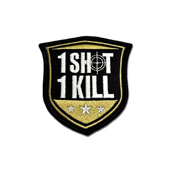 BASTION Airsoft Morale Patch 1 BASTION Morale Patches (One Shot One Kill, ACU) | 3D Embroidered Patches with Hook & Loop Fastener Backing | Well-Made Clean Stitching | Military Patches for Tactical Bag, Hats & Vest