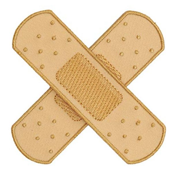 Graphic Dust Airsoft Morale Patch 2 Graphic Dust Fake Medical Plaster Strip Bandage Plaster Embroidered Iron On Patch Adhesive Red Band-Aid Cross Medic Bandaid