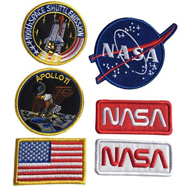 Xunqian Airsoft Morale Patch 1 Bundle 6 Pcs Tactical Flag Patch - Space Fans USA NASA Patch Embroidered Lot Military Embroidered Patches (A-Hook and Loop Fasteners Backing)