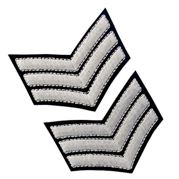 EmbTao Airsoft Morale Patch 4 Glow in Dark Millitary Uniform Chevrons Sergeant Stripes US Army Embroidered Arms Emblem Iron On Sew On Shoulder Patch, Pack of 2