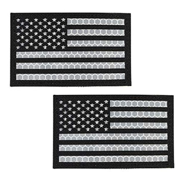 IronSeals Airsoft Morale Patch 5 IronSeals 2 Pack Reflective USA Flag Patch, Morale American Flag Patches with Hook-Fastener Backing